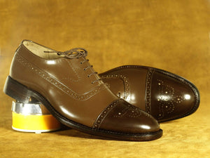 BESPOKESTORES Clothing, Shoes & Accessories:Men's Shoes:Boots Handmade Brown Cap Toe Brogue Leather Lace Up Shoes, Men's Formal Dress Shoes