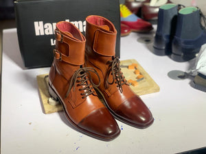 BESPOKESTORES Clothing, Shoes & Accessories:Men's Shoes:Boots Handmade Brown Cap Toe Leather Lace Up & Buckle Long Boots, Men's Oxford Boot