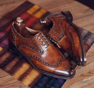 BESPOKESTORES Clothing, Shoes & Accessories:Men's Shoes:Boots Handmade Brown Lace Up Leather Brogue Wing Tip Shoes