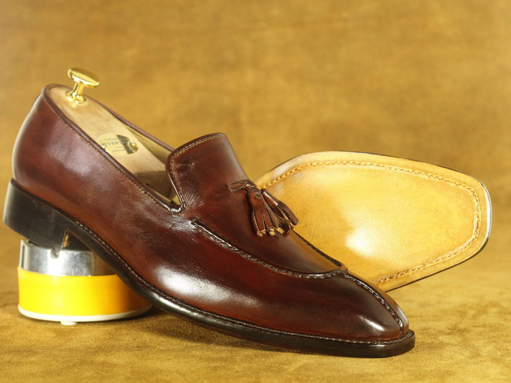 BESPOKESTORES Clothing, Shoes & Accessories:Men's Shoes:Boots Handmade Brown Split Toe Leather Tussle Loafers, Men's Oxford Loafers