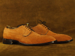 BESPOKESTORES Clothing, Shoes & Accessories:Men's Shoes:Boots Handmade Brown Wing Tip Suede Shoes, Men's Formal Dress Shoes
