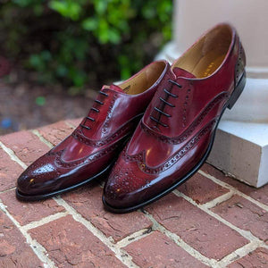 BESPOKESTORES Clothing, Shoes & Accessories:Men's Shoes:Boots Handmade Burgundy Wing Tip Lace Up Leather Shoes For Men