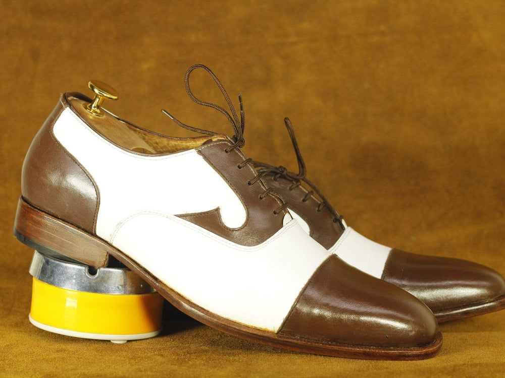 BESPOKESTORES Clothing, Shoes & Accessories:Men's Shoes:Boots Handmade Elegant White & Brown Cap Toe Leather Lace Up Shoes