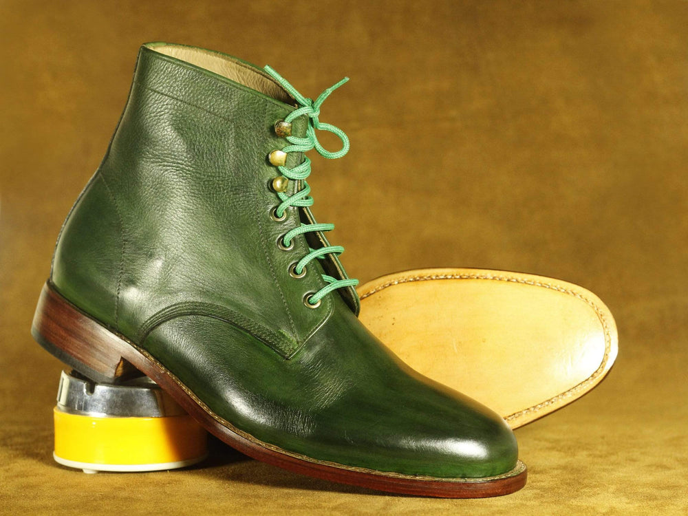 BESPOKESTORES Clothing, Shoes & Accessories:Men's Shoes:Boots Handmade Green Ankle High Lace Up Leather Boots, Men's Oxford Boot