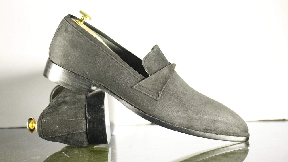 Handmade Grey Suede Loafers, Men's Formal Dress Penny Loafers