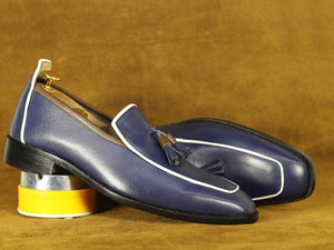 BESPOKESTORES Clothing, Shoes & Accessories:Men's Shoes:Boots Handmade Navy Blue & White Round Toe Tussle Loafers, Men's Oxford Loafers