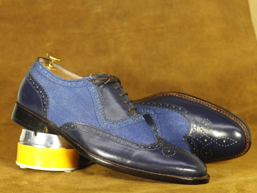 BESPOKESTORES Clothing, Shoes & Accessories:Men's Shoes:Boots Handmade Navy Blue Wing Tip Brogue Leather & Denim Shoes, Men's Formal Dress Shoes