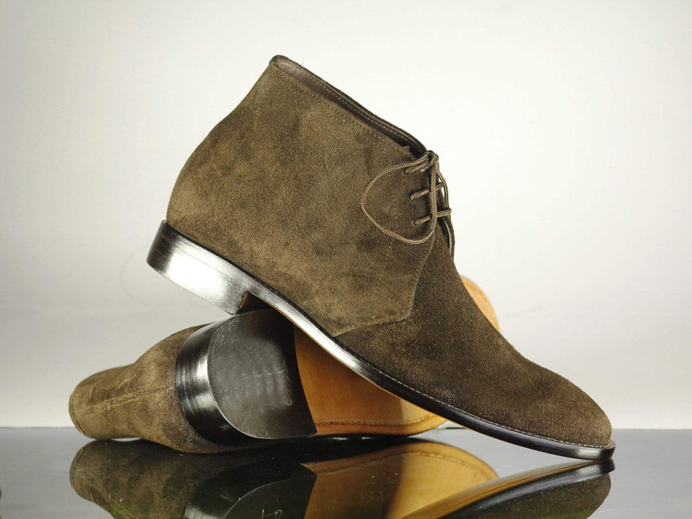 Handmade Stylish Brown Lace Up Leather Suede Chukka Boot