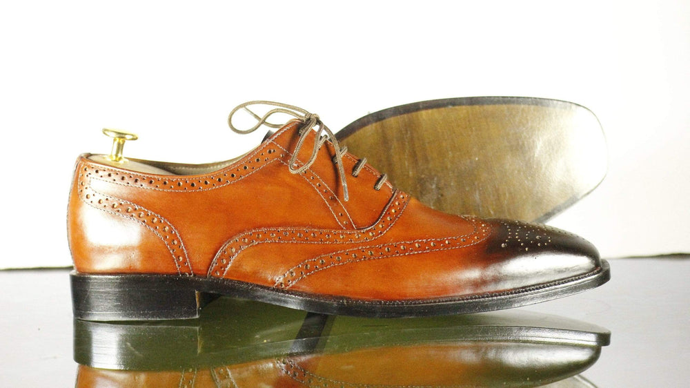 BESPOKESTORES Clothing, Shoes & Accessories:Men's Shoes:Boots Handmade Tan Brogue Lace Up Wing Tip Leather Shoes For Men