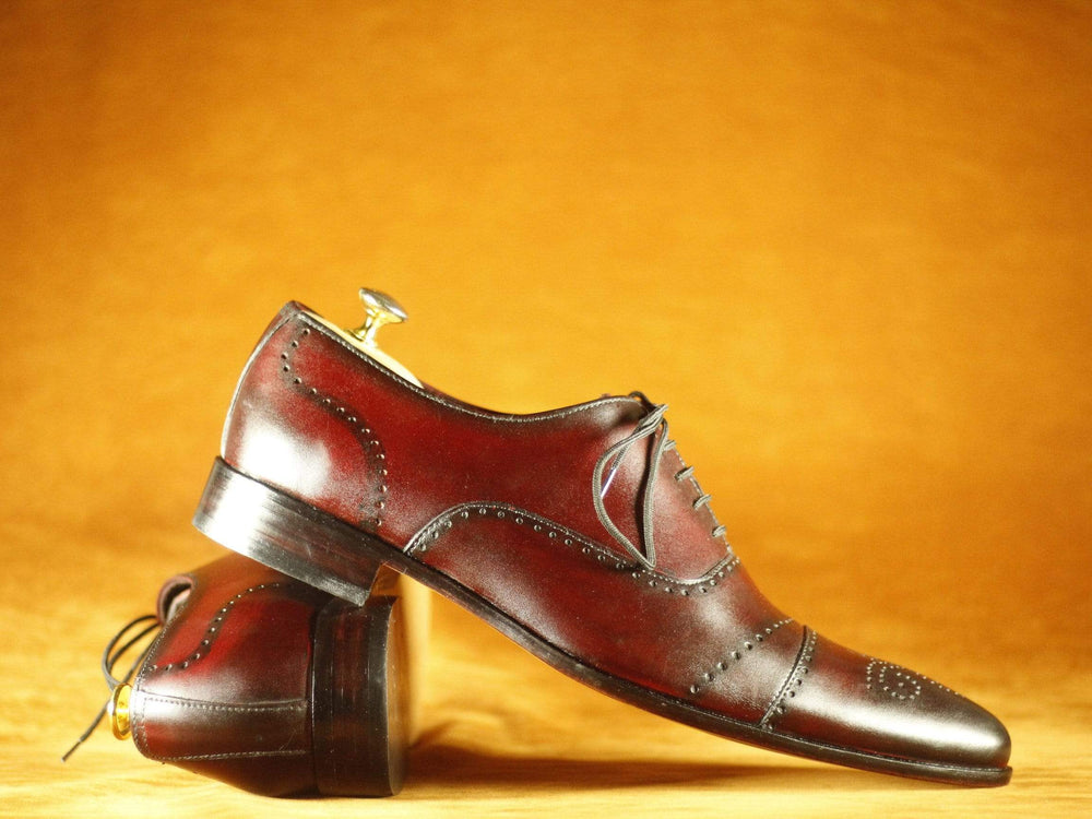 BESPOKESTORES Clothing, Shoes & Accessories:Men's Shoes:Boots Lace Up Burgundy Cap Toe Brogue Leather shoesLace Up Burgundy Cap Toe Brogue Leather shoes