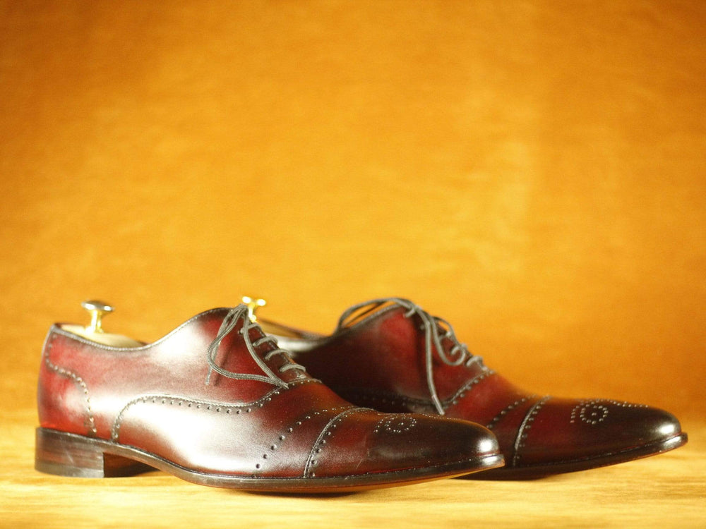 BESPOKESTORES Clothing, Shoes & Accessories:Men's Shoes:Boots Lace Up Burgundy Cap Toe Brogue Leather shoes