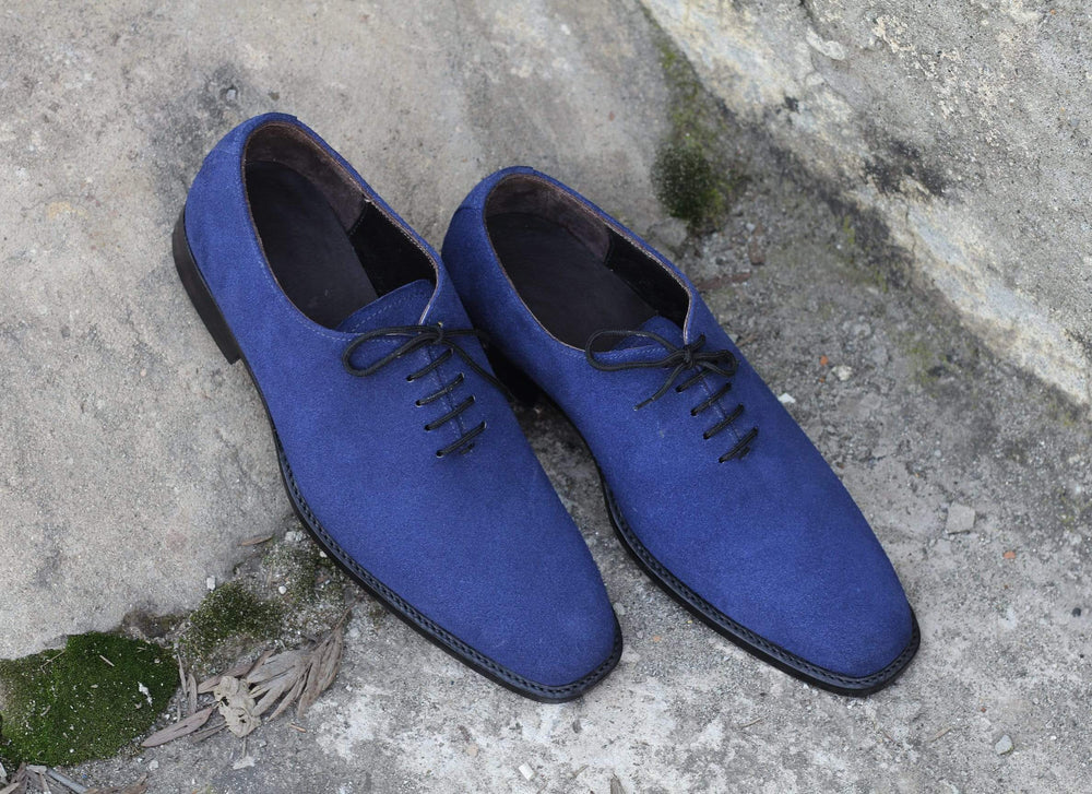 BESPOKESTORES Clothing, Shoes & Accessories:Men's Shoes:Boots Lace Up Royal Blue Leather Suede Men's Foot Wear