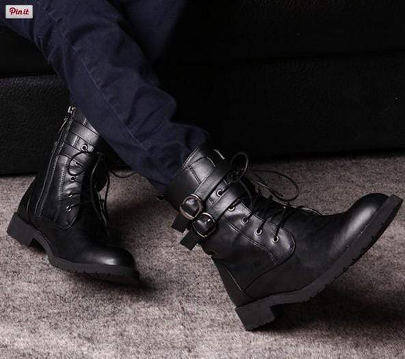 Long Side Zip Double Buckle Strap Lace Up Leather Boot