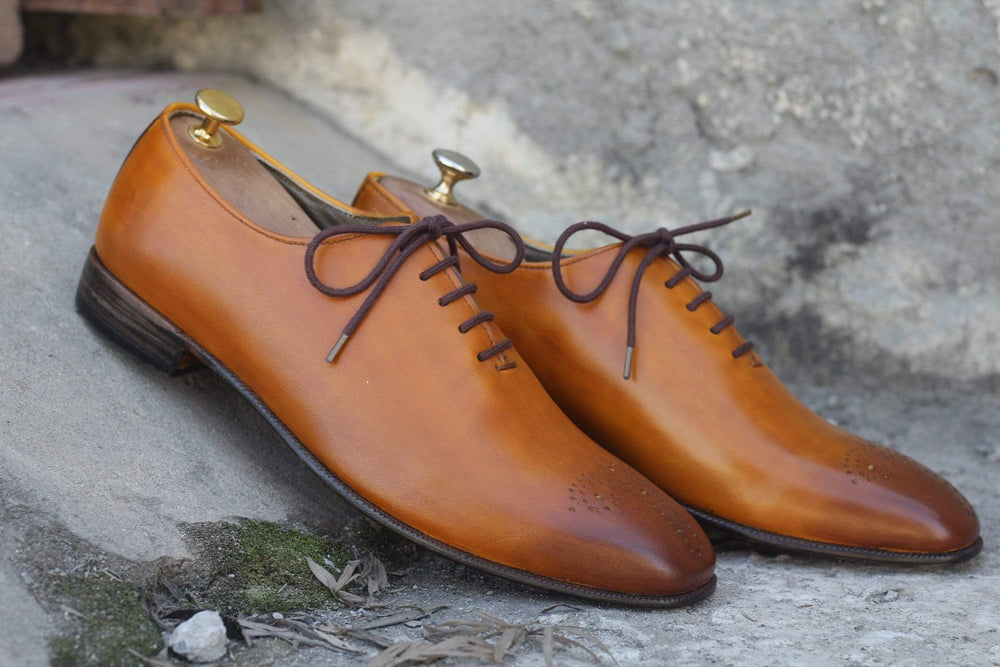 BESPOKESTORES Clothing, Shoes & Accessories:Men's Shoes:Boots Luxuries Hand Painted Tan Lace Up Brogue Leather Shoes