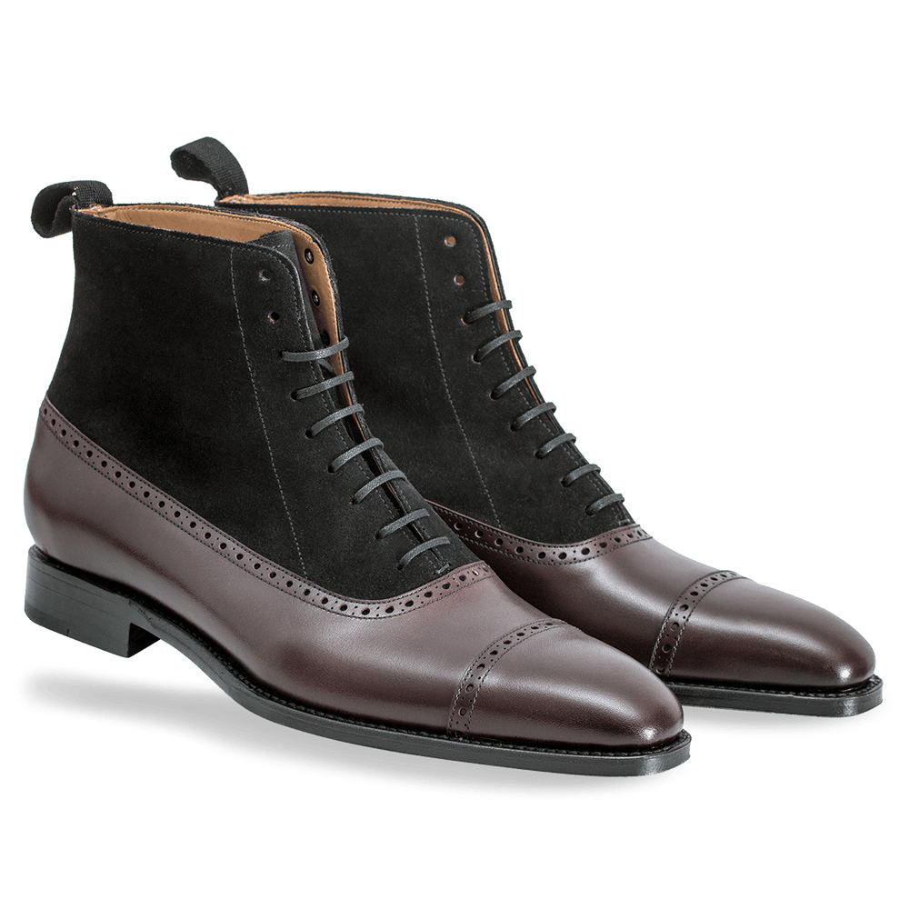 BESPOKESTORES Clothing, Shoes & Accessories:Men's Shoes:Boots Luxury Cordovan Ankle High Black Suede Lace Up Leather Boot