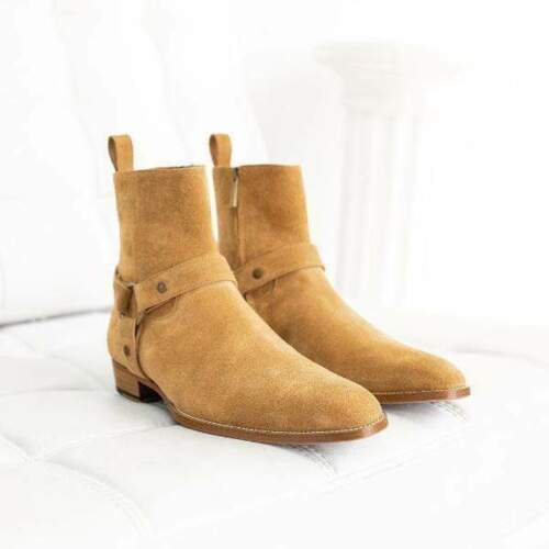 BESPOKESTORES Clothing, Shoes & Accessories:Men's Shoes:Boots Madrid Style Ankle High Beige Leather Suede Boot For Men