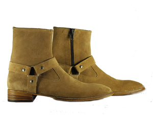 BESPOKESTORES Clothing, Shoes & Accessories:Men's Shoes:Boots Madrid Style Beige Suede Ankle High Men's Leather Boot