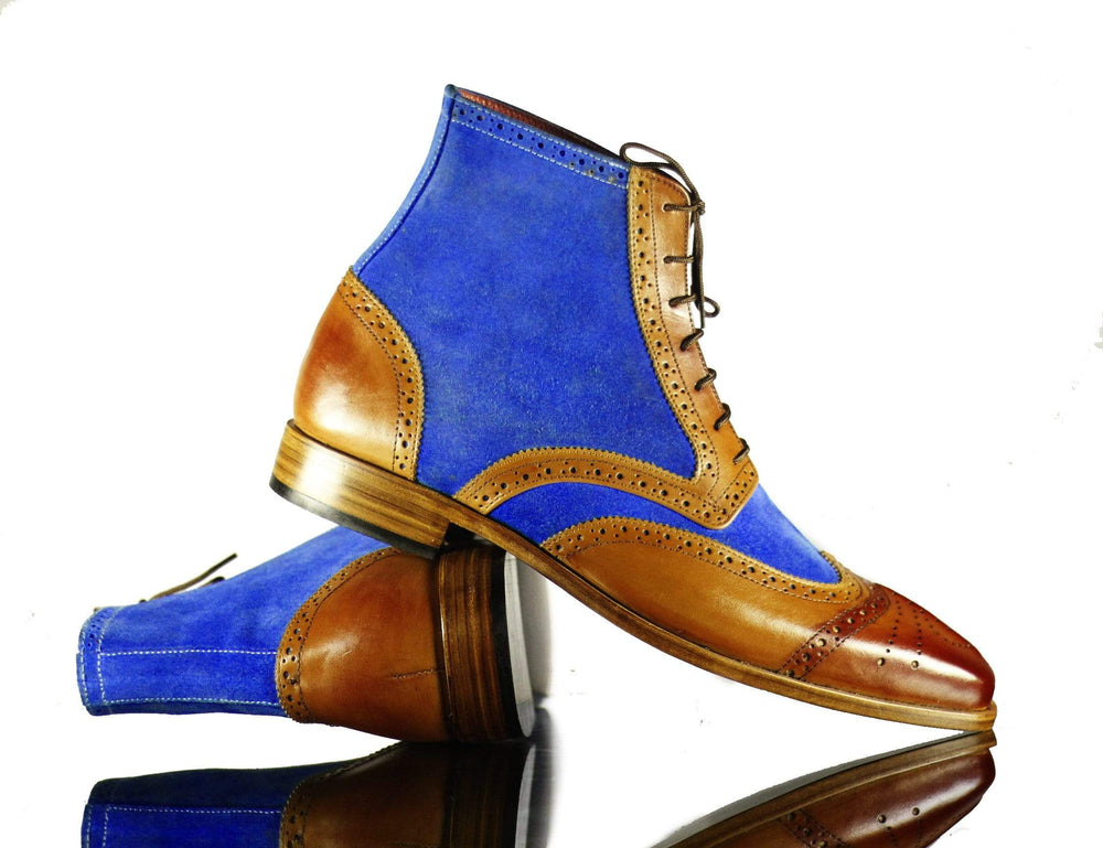 BESPOKESTORES Clothing, Shoes & Accessories:Men's Shoes:Boots Men's Blue & Brown Wing Tip Brogue Boots, Ankle High Leather & Suede Boots