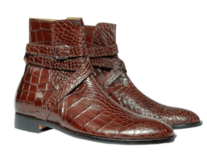 BESPOKESTORES Clothing, Shoes & Accessories:Men's Shoes:Boots Men's Brown Jodhpurs Alligator Texture Ankle High Leather Boot