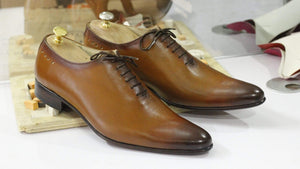 BESPOKESTORES Clothing, Shoes & Accessories:Men's Shoes:Boots Men's Formal Wear In Tan Color Lace Up Leather Shoes