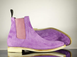 BESPOKESTORES Clothing, Shoes & Accessories:Men's Shoes:Boots Men's Purple Classy Foot Wear Chelsea Suede Leather Boot, Oxford Boot