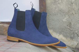 BESPOKESTORES Clothing, Shoes & Accessories:Men's Shoes:Boots Men's Stylish Foot Wear Blue Ankle High Chelsea Leather Suede Boot
