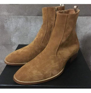 BESPOKESTORES Clothing, Shoes & Accessories:Men's Shoes:Boots Men Tan Suede Ankle High Zipper Jodhpurs Leather Boot
