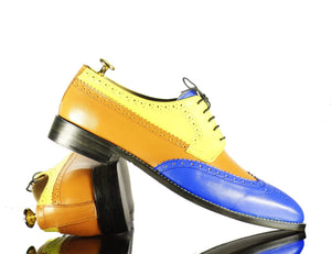 BESPOKESTORES Clothing, Shoes & Accessories:Men's Shoes:Boots Multi Color Lace Up Wing Tip Brogue Leather Shoes