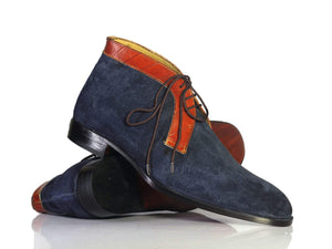 BESPOKESTORES Clothing, Shoes & Accessories:Men's Shoes:Boots Navy Blue Chukka Boots, Half Ankle Leather Suede Lace Up Boots