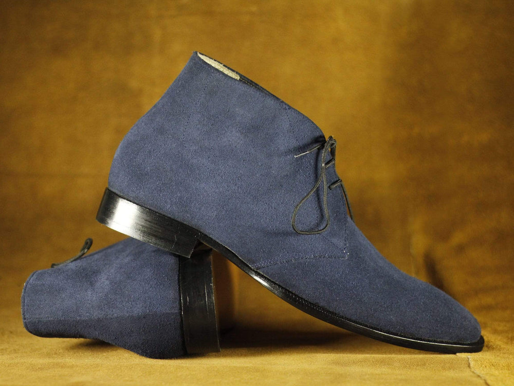 Navy Blue Stylish Lace Up Leather Suede Chukka Boot