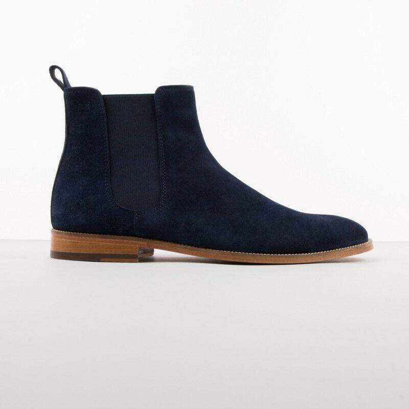 BESPOKESTORES Clothing, Shoes & Accessories:Men's Shoes:Boots Navy Blue Suede Leather Chelsea Stylish Men's Foot Wear