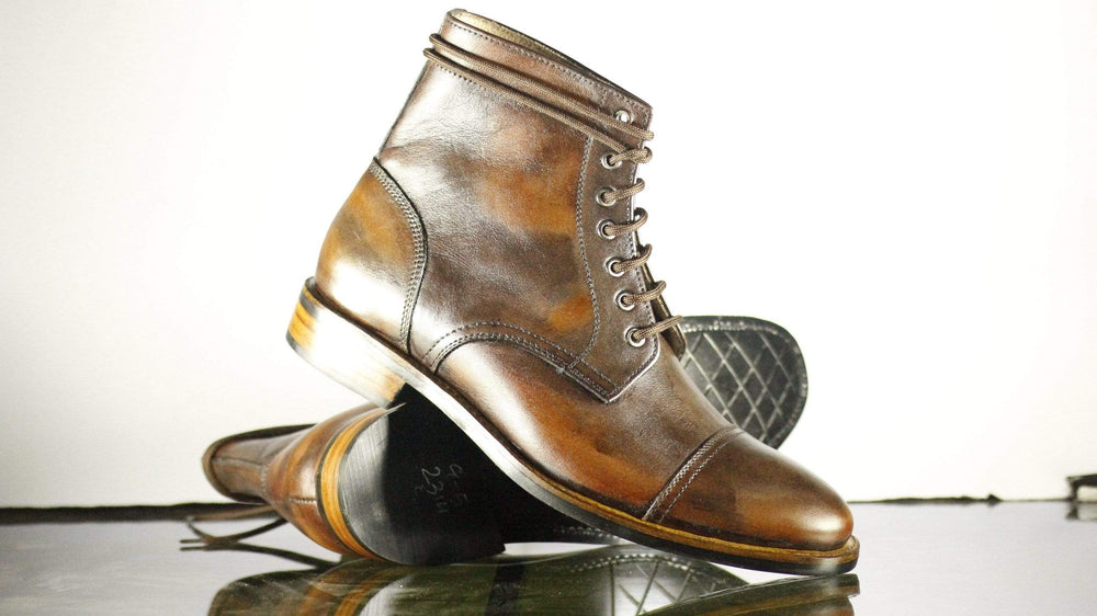 BESPOKESTORES Clothing, Shoes & Accessories:Men's Shoes:Boots Oxford Ankle High Lace Up Cap Toe Tan Vintage Leather Stylish Boot