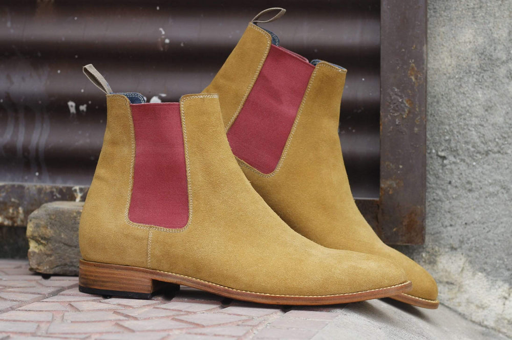 BESPOKESTORES Clothing, Shoes & Accessories:Men's Shoes:Boots Oxford Ankle High Tan Suede Chelsea Leather Boot