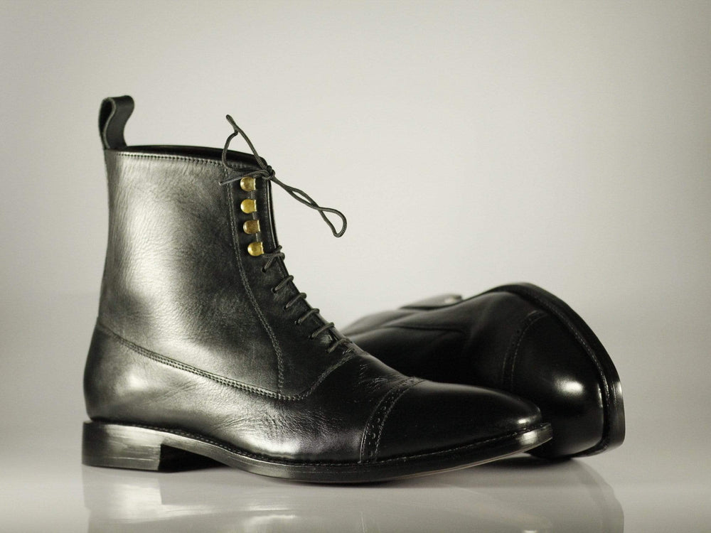 Oxford Black High Ankle Lace Up Cap Toe Leather Boot