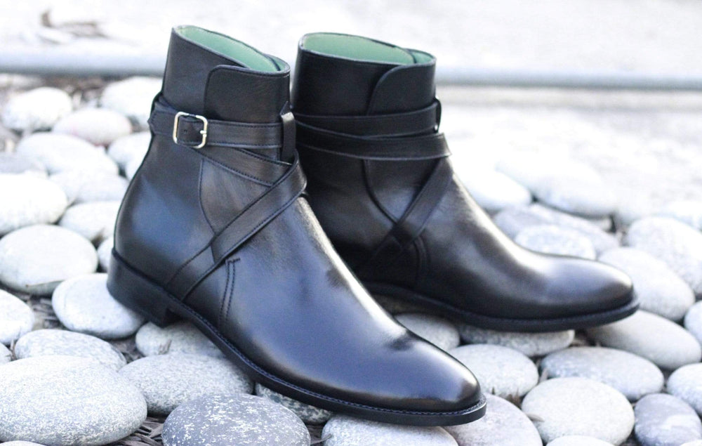 BESPOKESTORES Clothing, Shoes & Accessories:Men's Shoes:Boots Oxford Black Jodhpurs Buckle Strap Ankle high Stylish Men's Leather Boot