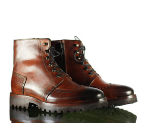 BESPOKESTORES Clothing, Shoes & Accessories:Men's Shoes:Boots Oxford Brown Wing Tip Close Toe Lace Up Ankle High Leather Boot