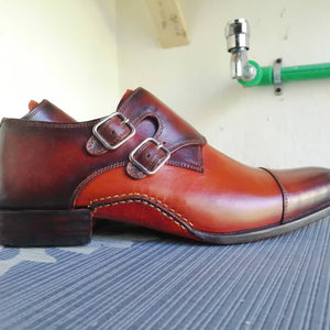BESPOKESTORES Clothing, Shoes & Accessories:Men's Shoes:Boots Oxford Cap Toe Two Tone Side Monk Leather Shoes
