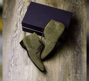 BESPOKESTORES Clothing, Shoes & Accessories:Men's Shoes:Boots Oxford Green Half Ankle Leather Suede chukka Boot