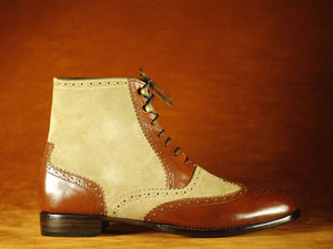 BESPOKESTORES Clothing, Shoes & Accessories:Men's Shoes:Boots Oxford Men's Stylish Foot Wear Beige & Brown Wing Tip Lace Up Boot