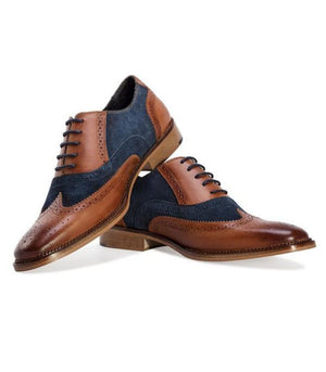 BESPOKESTORES Clothing, Shoes & Accessories:Men's Shoes:Boots Oxford Navy Blue & Tan Brogue Lace Up Wing Tip Leather Suede Shoes