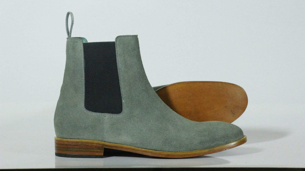 BESPOKESTORES Clothing, Shoes & Accessories:Men's Shoes:Boots Oxford Stylish Gray Ankle High Chelsea Boot For Men