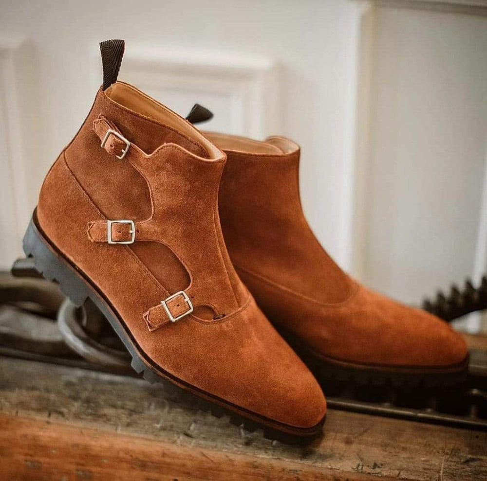 BESPOKESTORES Clothing, Shoes & Accessories:Men's Shoes:Boots Oxford Triple Monk Leather Suede Mustered Boot