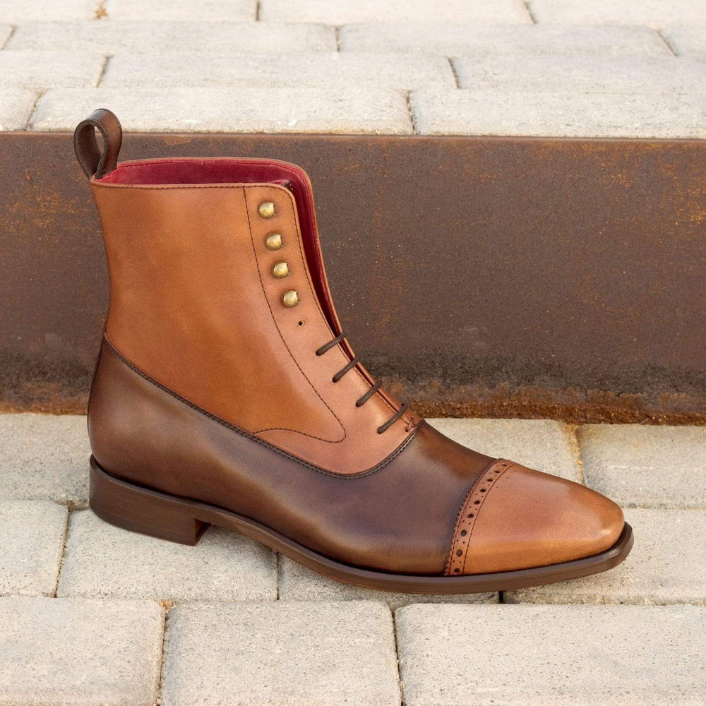 BESPOKESTORES Clothing, Shoes & Accessories:Men's Shoes:Boots Oxford Two Tone Cap Toe Brown Tan Leather Ankle High Boot