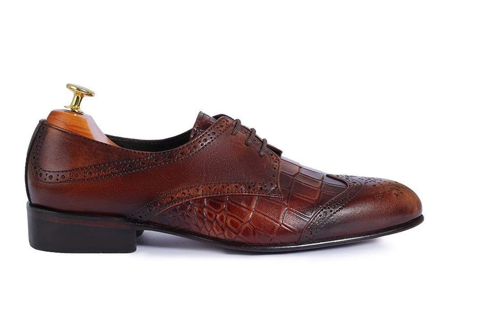 BESPOKESTORES Clothing, Shoes & Accessories:Men's Shoes:Boots Oxford Wing Tip Brown Alligator Texture Lace Up Leather Shoes