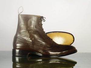 BESPOKESTORES Clothing, Shoes & Accessories:Men's Shoes:Boots Oxford Wing Tip Cordovan Ankle High Lace Up Leather Boot