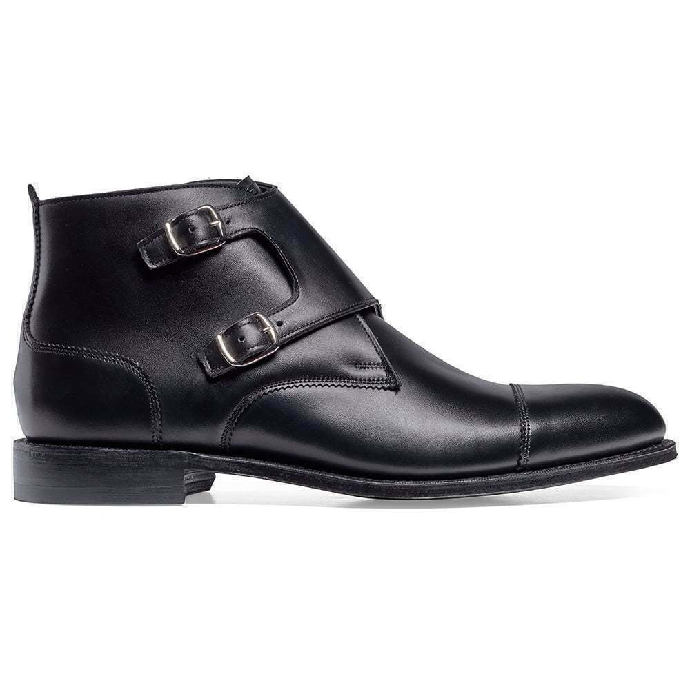 Patent Black Double Monk Strap Leather Suede Cap Toe Boot