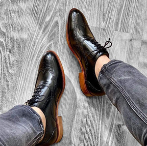 BESPOKESTORES Clothing, Shoes & Accessories:Men's Shoes:Boots Pure Black Wing Tip Leather Brogue Lace Up Oxford Shoes