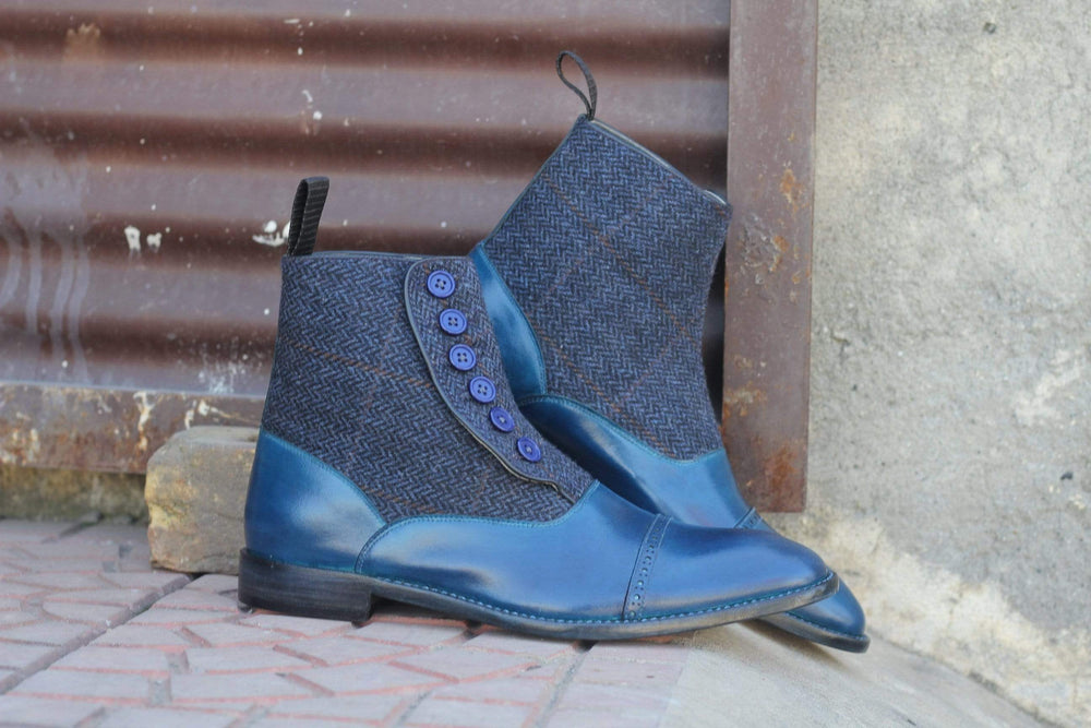 Pure Blue Leather & Tweed Button Top Cap Toe Ankle High Boot