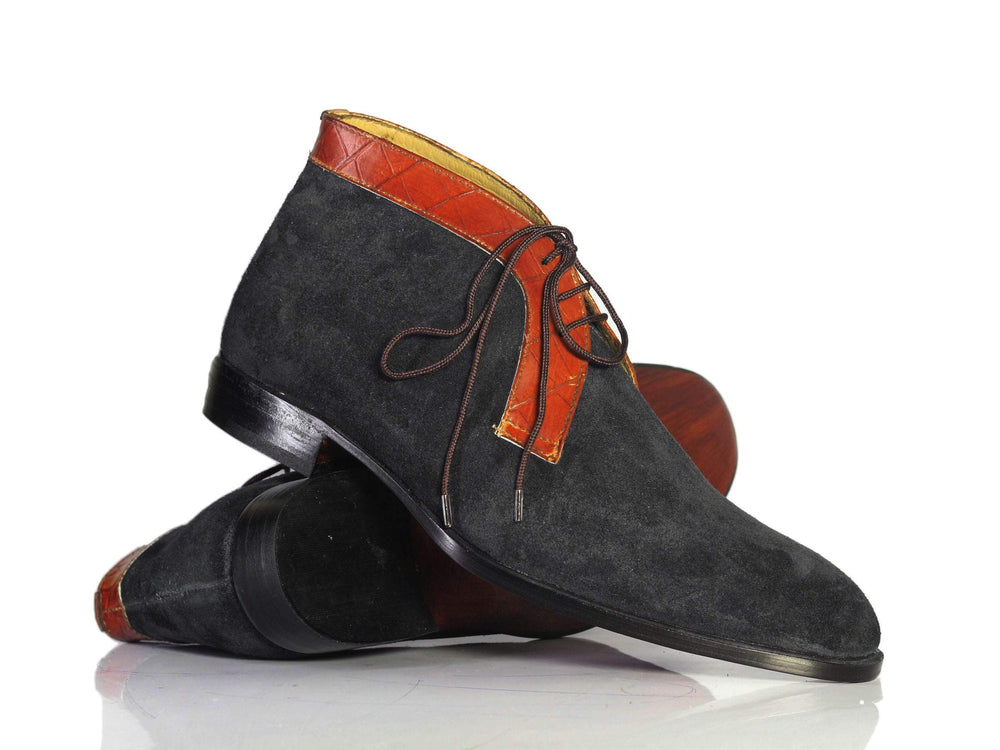 BESPOKESTORES Clothing, Shoes & Accessories:Men's Shoes:Boots Pure Handmade Black Chukka Boots, Half Ankle Leather Suede Lace Up Boots