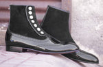 Pure Patent Leather Black Button Top Wing Tip Ankle High Boot